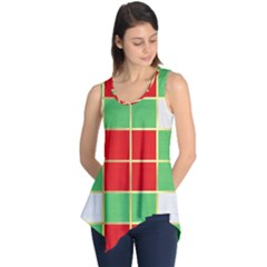Christmas Fabric Textile Red Green Sleeveless Tunic