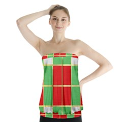 Christmas Fabric Textile Red Green Strapless Top