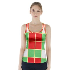 Christmas Fabric Textile Red Green Racer Back Sports Top