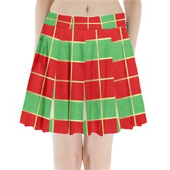 Christmas Fabric Textile Red Green Pleated Mini Skirt