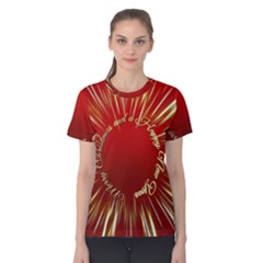 Christmas Greeting Card Star Women s Cotton Tee