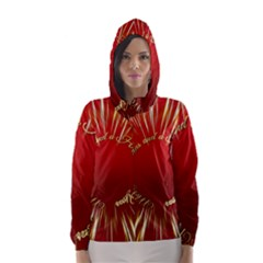 Christmas Greeting Card Star Hooded Wind Breaker (Women)