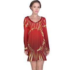 Christmas Greeting Card Star Long Sleeve Nightdress