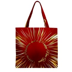 Christmas Greeting Card Star Zipper Grocery Tote Bag