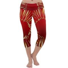 Christmas Greeting Card Star Capri Yoga Leggings