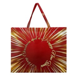 Christmas Greeting Card Star Zipper Large Tote Bag
