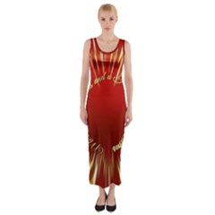 Christmas Greeting Card Star Fitted Maxi Dress