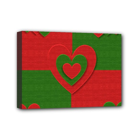 Christmas Fabric Hearts Love Red Mini Canvas 7  x 5