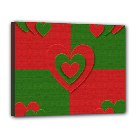 Christmas Fabric Hearts Love Red Canvas 14  x 11