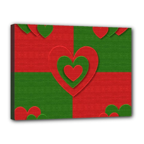 Christmas Fabric Hearts Love Red Canvas 16  x 12