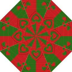 Christmas Fabric Hearts Love Red Folding Umbrellas
