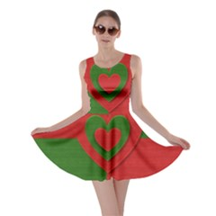 Christmas Fabric Hearts Love Red Skater Dress