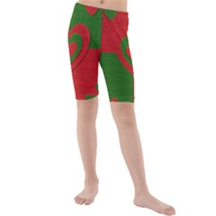 Christmas Fabric Hearts Love Red Kids  Mid Length Swim Shorts