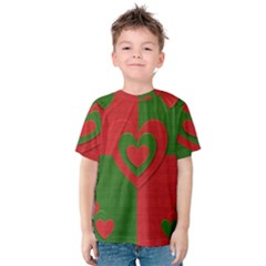 Christmas Fabric Hearts Love Red Kids  Cotton Tee
