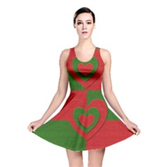 Christmas Fabric Hearts Love Red Reversible Skater Dress