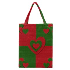Christmas Fabric Hearts Love Red Classic Tote Bag