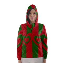 Christmas Fabric Hearts Love Red Hooded Wind Breaker (Women)
