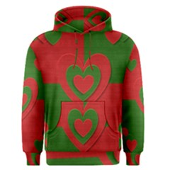 Christmas Fabric Hearts Love Red Men s Pullover Hoodie