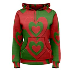 Christmas Fabric Hearts Love Red Women s Pullover Hoodie
