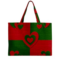 Christmas Fabric Hearts Love Red Zipper Mini Tote Bag