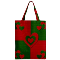 Christmas Fabric Hearts Love Red Zipper Classic Tote Bag
