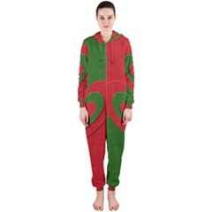 Christmas Fabric Hearts Love Red Hooded Jumpsuit (ladies)