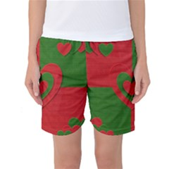 Christmas Fabric Hearts Love Red Women s Basketball Shorts