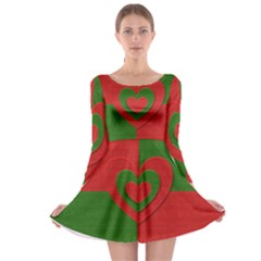 Christmas Fabric Hearts Love Red Long Sleeve Skater Dress