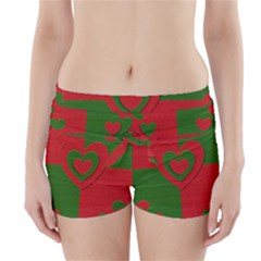 Christmas Fabric Hearts Love Red Boyleg Bikini Wrap Bottoms