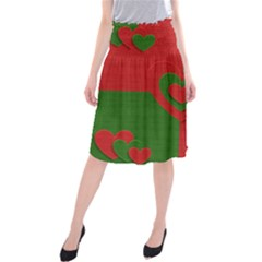 Christmas Fabric Hearts Love Red Midi Beach Skirt