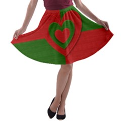 Christmas Fabric Hearts Love Red A Line Skater Skirt