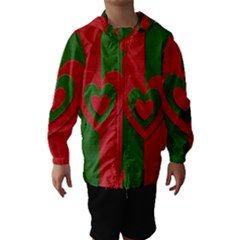 Christmas Fabric Hearts Love Red Hooded Wind Breaker (Kids)