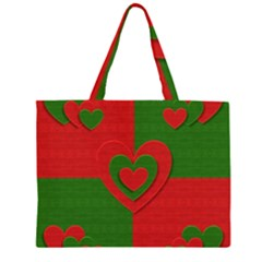 Christmas Fabric Hearts Love Red Large Tote Bag