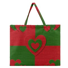 Christmas Fabric Hearts Love Red Zipper Large Tote Bag