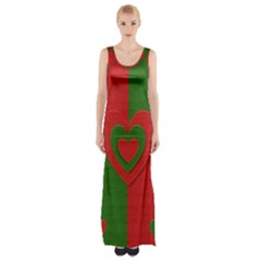 Christmas Fabric Hearts Love Red Maxi Thigh Split Dress
