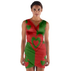 Christmas Fabric Hearts Love Red Wrap Front Bodycon Dress