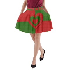 Christmas Fabric Hearts Love Red A-Line Pocket Skirt