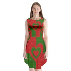 Christmas Fabric Hearts Love Red Sleeveless Chiffon Dress