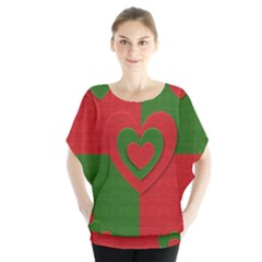 Christmas Fabric Hearts Love Red Blouse