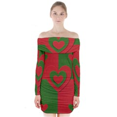 Christmas Fabric Hearts Love Red Long Sleeve Off Shoulder Dress