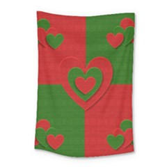 Christmas Fabric Hearts Love Red Small Tapestry
