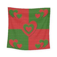 Christmas Fabric Hearts Love Red Square Tapestry (small)