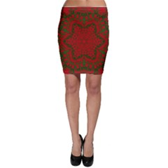 Christmas Kaleidoscope Art Pattern Bodycon Skirt