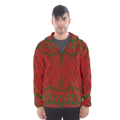 Christmas Kaleidoscope Art Pattern Hooded Wind Breaker (men)