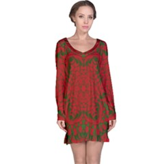 Christmas Kaleidoscope Art Pattern Long Sleeve Nightdress