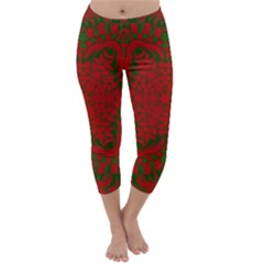 Christmas Kaleidoscope Art Pattern Capri Winter Leggings