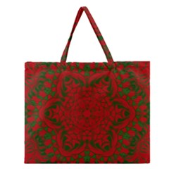 Christmas Kaleidoscope Art Pattern Zipper Large Tote Bag