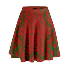 Christmas Kaleidoscope Art Pattern High Waist Skirt
