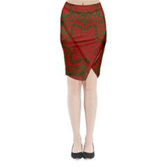 Christmas Kaleidoscope Art Pattern Midi Wrap Pencil Skirt