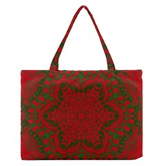 Christmas Kaleidoscope Art Pattern Medium Zipper Tote Bag
